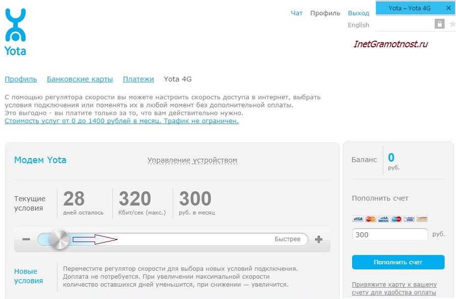 как прирастить скорость веба в сети yota